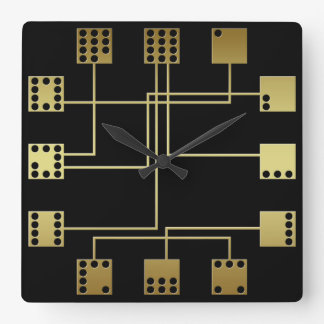 Geometric Art Deco Inspired Domino Tiles Square Wall Clock