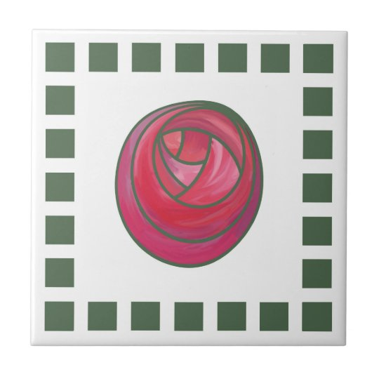 Geometric Art Nouveau Pink Rose with Green Squares Small Square Tile