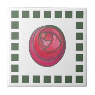 Geometric Art Nouveau Pink Rose with Green Squares Tile