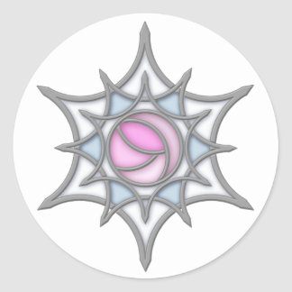 Geometric Art Nouveau Rose within a Snowflake Classic Round Sticker