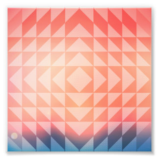 Geometric Art Triangles Fractals Blue and Orange Photo Print