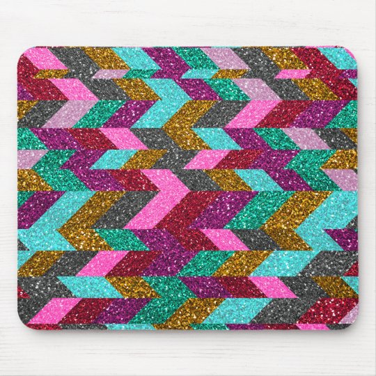 Geometric Aztec Girly Pink Teal Glitter Print Mouse Mat