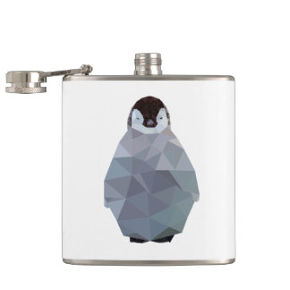 Geometric Baby Penguin Print Hip Flask