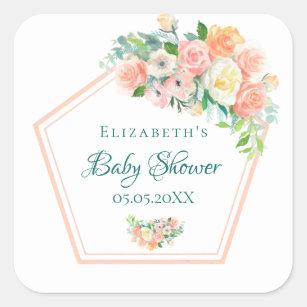 Geometric Baby Shower watercolored floral copper Square Sticker
