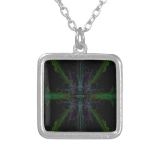 Geometric background silver plated necklace