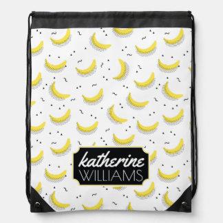 Geometric Bananas | Add Your Name Drawstring Bag