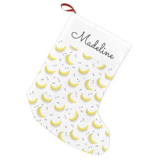 Geometric Bananas   Add Your Name Small Christmas Stocking