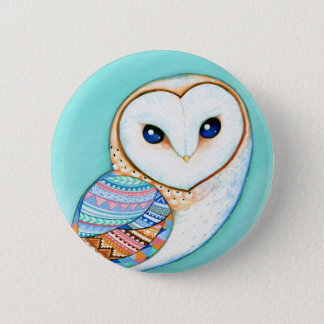 Geometric Barn Owl 6 Cm Round Badge