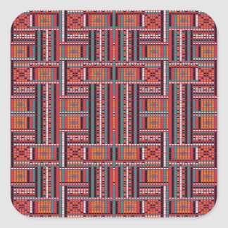 Geometric Bead Effect Pattern Ethnic Tribal Look Square Sticker