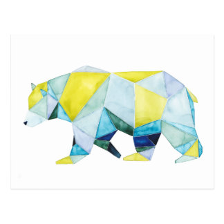 Geometric Bear Animal Postcard