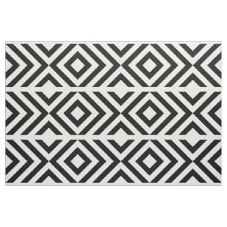 Geometric Black and White Chevrons and Diamonds Fabric