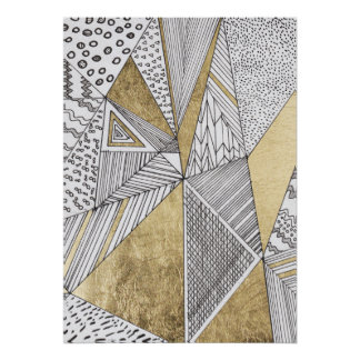 Geometric black and white chic faux gold patterns poster