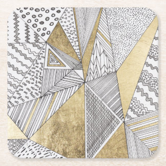 Geometric black and white chic faux gold patterns square paper coaster