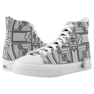 Geometric Black and White Shoes Printed Shoes
