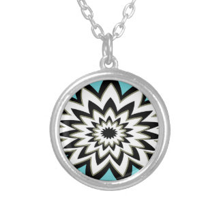 Geometric Black and White Silver Plated Necklace