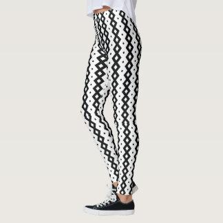 Geometric Black and White Stripes Pattern Leggings