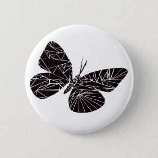 Geometric black butterfly 6 cm round badge