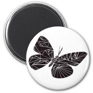 Geometric black butterfly 6 cm round magnet