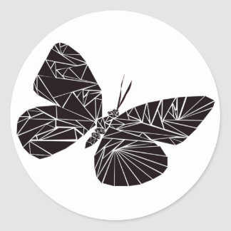 Geometric black butterfly classic round sticker
