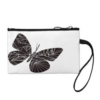 Geometric black butterfly coin purse