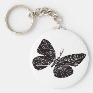 Geometric black butterfly key ring