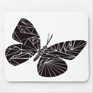 Geometric black butterfly mouse mat