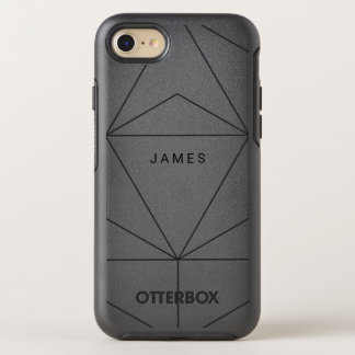 Geometric Black Diamond Lines Name OtterBox Symmetry iPhone 7 Case