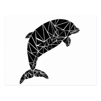 Geometric black dolphin postcard