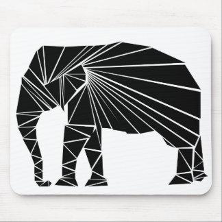 Geometric black elephant mouse mat