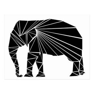 Geometric black elephant postcard
