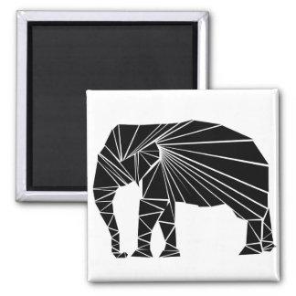 Geometric black elephant square magnet