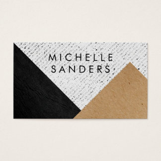 Geometric Black Faux Leather Craft Paper Speckled Business Card