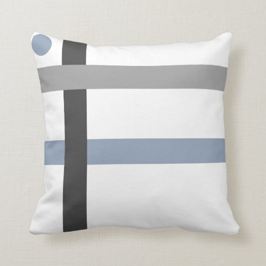 Geometric Black Grey Blue White Bars Cushion