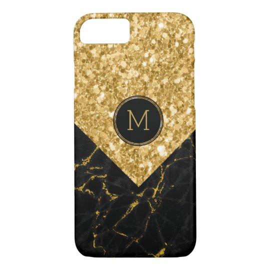 Geometric Black Marble & Gold Glitter iPhone 7