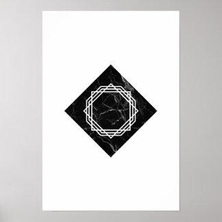 Geometric Black Marble Poster