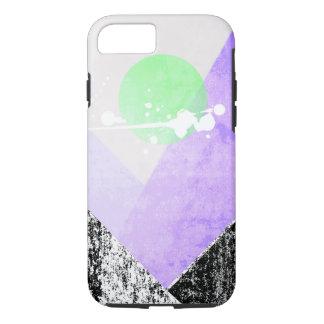 Geometric Black Purple Mountains Design Quilt Art iPhone 7 Case