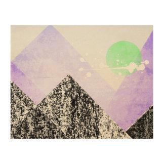 Geometric Black Purple Mountains Design Quilt Art Wood Print