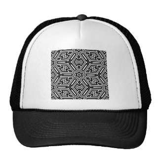 Geometric Black Starburst Pattern Cap