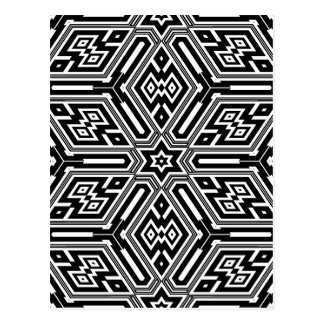 Geometric Black Starburst Pattern Postcard