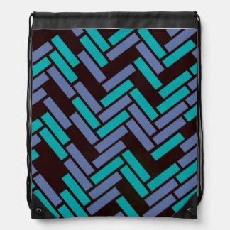 Geometric Black, Teal & Purple Drawstring Backpack