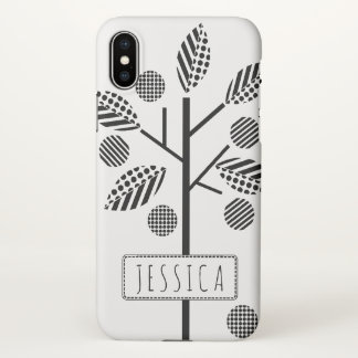 Geometric black, white tree and frame with name iPhone x case
