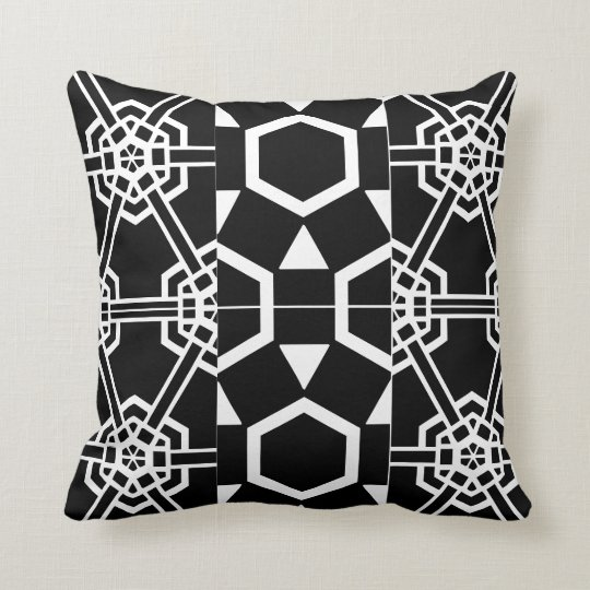 Geometric Block Symbol Patterns Black and White Cushion