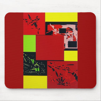 Geometric Blocks Abstract Art red design Mousepad
