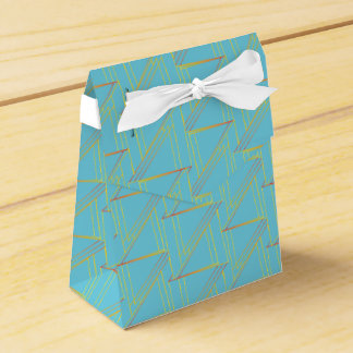 Geometric Blue and Gold Pattern Favor Box Party Favour Boxes