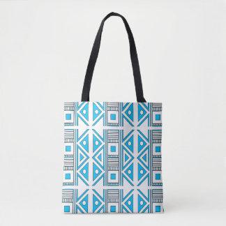 Geometric Blue and White Tote Bag