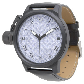 Geometric Blue Fractal Pattern Watch