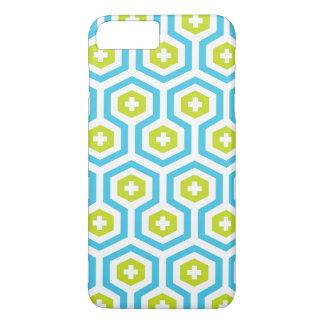 Geometric Blue Green Hexagon & Cross Pattern iPhone 7 Plus Case