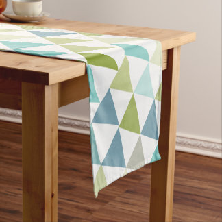 Geometric Blue Green Modern Pattern Short Table Runner