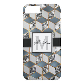 Geometric Blue Marble Gold Personalized Monongram iPhone 8/7 Case