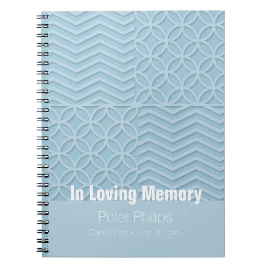 Geometric Blue Memorial Service Funeral Guest Book